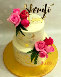Fresh Pink Roses Wedding Cake with Edible Gold Leaf
