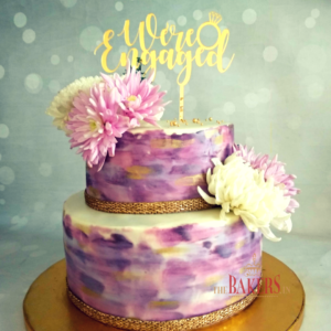 Lavender Engagement Cake with fresh flowers